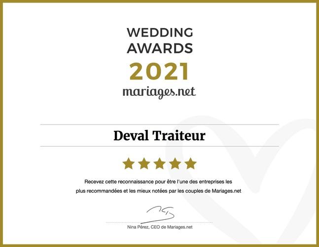 Certificat Wedding Awards 2021 Deval Traiteur à Bordeaux